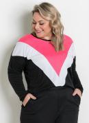 Blusa Ampla Preta, Branca e Rosa Plus Size
