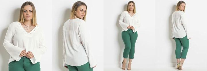 Blusa Branca Manga Ampla Plus Size Quintess