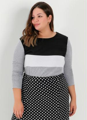 Blusa (Mescla) com Recortes na Frente Plus Size