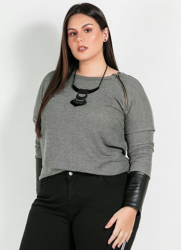 Blusa Plus Size(Cinza)Com Detalhes em Couro