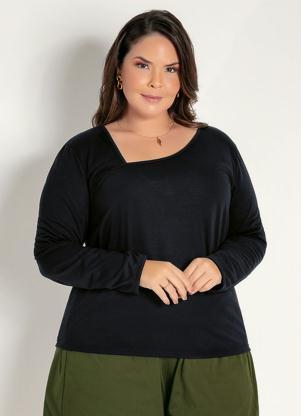 Blusa (Preta) com Decote Assimétrico Plus Size