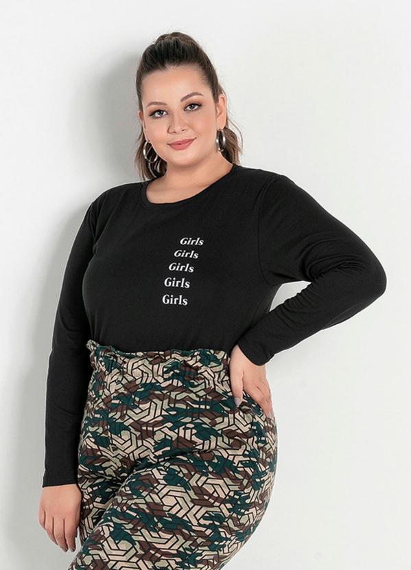 Blusa (Preta) com Estampa na Frente Plus Size