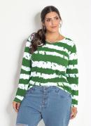 Blusa Tie Dye Verde Plus Size Mangas Longas
