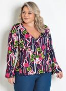 Blusa Transpassada Plus Size Floral