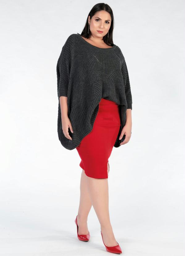Blusa Tricot Plus Size (Chumbo)