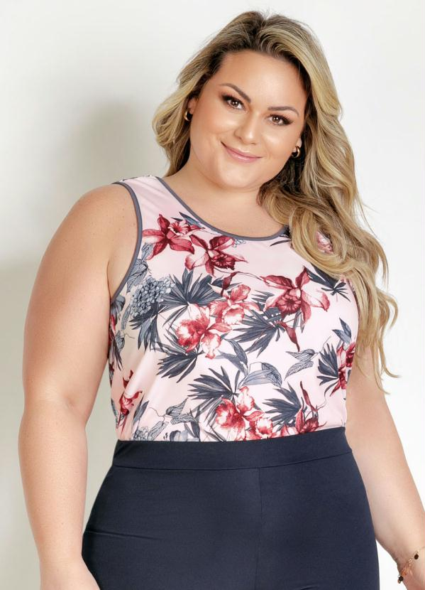 Blusa (Floral) com Decote Redondo Plus Size