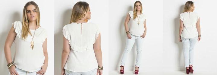 Blusa Off White com Babado Plus Size Quintess