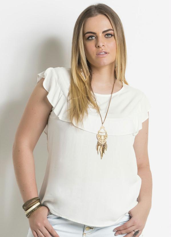 Blusa (Off White) com Babado Plus Size Quintess