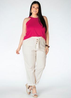 Blusa (Pink) Plus Size com Faixa no Decote