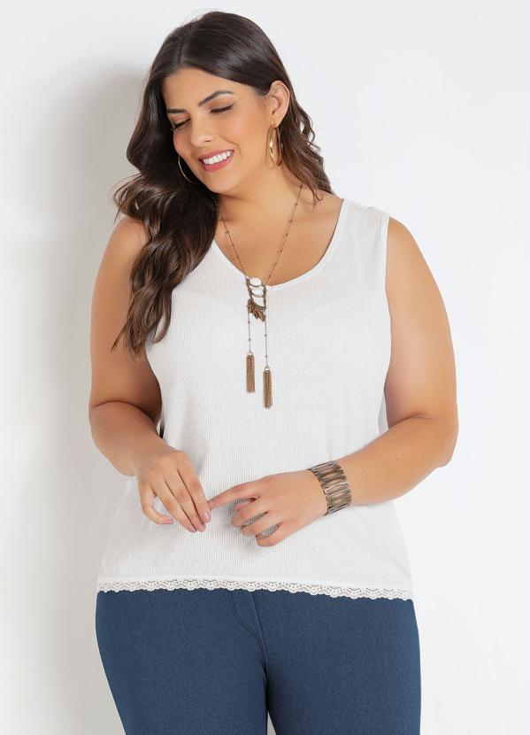 Regata (Branca) com Renda Plus Size