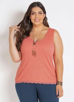 Regata (Coral) com Renda Plus Size