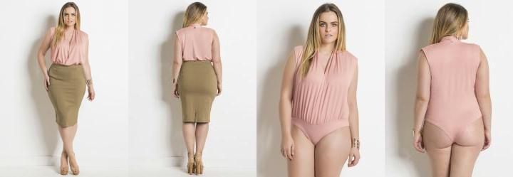 Body Transpassado Rosa Plus Size Quintess