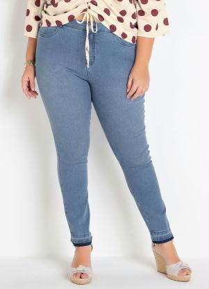 Calça Jeans Plus Size (Azul Clara) Cintura Alta