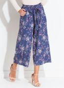 Calça Pantacourt Floral Azul com Amarração