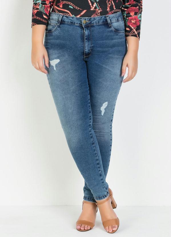 Calça Cigarrete (Jeans) Plus Size com Puídos