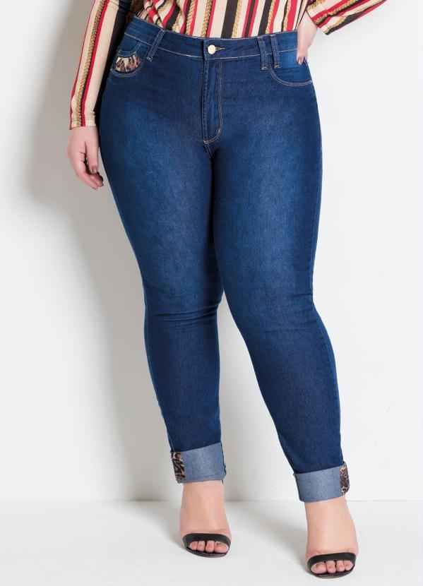 Calça Cigarrete Plus Size (Jeans) com Detalhe Onça