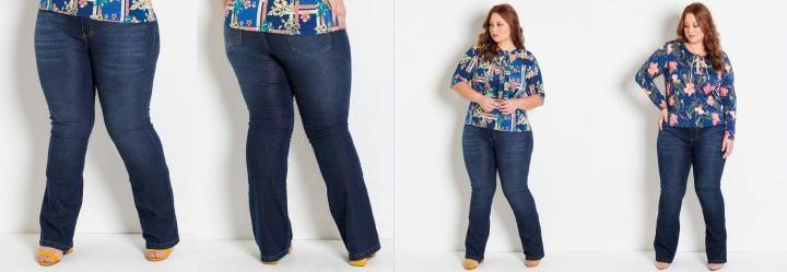 16501441d Score: 0.0 Calça Flare Jeans Plus Size Marguerite