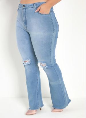 Calça (Jeans Clara) Flare com Bolsos Plus Size