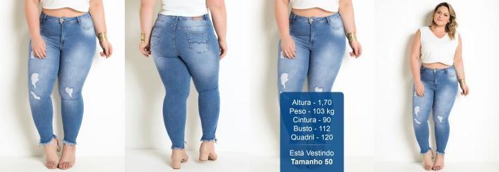 Calça Jeans Clara Plus Size Sawary com Puídos