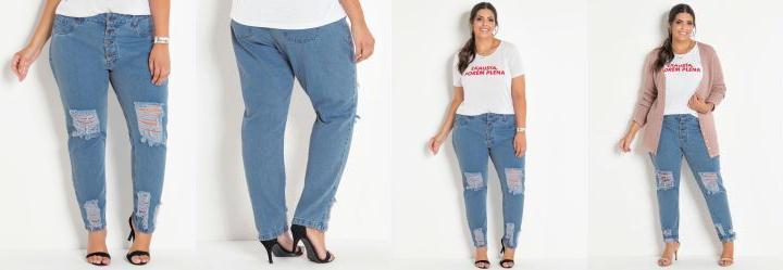 bf2eb29328 Score  0.0 Calça Jeans Claro Boyfriend com Rasgos Plus Size