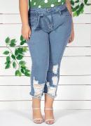 Calça Jeans Clochard Destroyed Plus Size