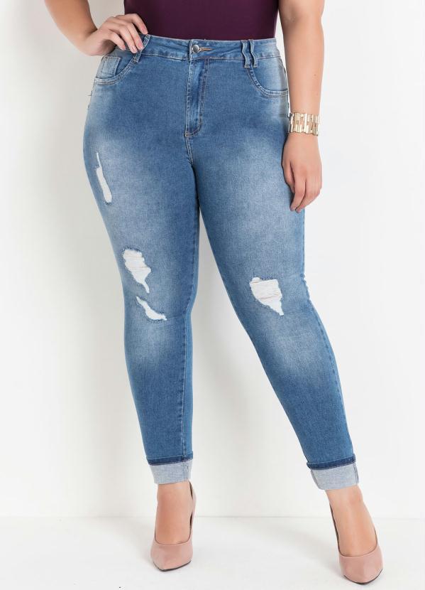 Calça (Jeans) Plus Size Sawary com Barra Dobrada