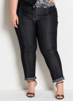 Calça (Jeans Preta) Plus Size Costuras Contrastes