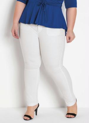 Calça Sarja (Branca) com Elastano Plus Size