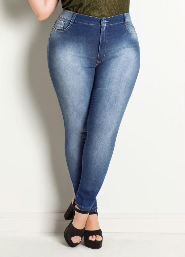 Calça Jeans Sawary Legging Plus Size (Azul)