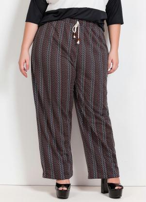 Calça Pantalona (Étnica) com Cadarço Plus Size