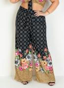 Calça Pantalona Floral e Geométrica Plus Size