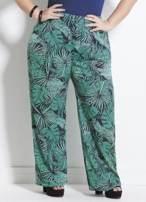 Calça Pantalona (Folhagem) Plus Size Marguerite