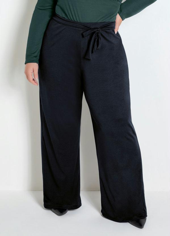Calça Pantalona (Preta) com Amarração Plus Size