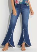 Calça Jeans Barra Desfiada e Transpassada