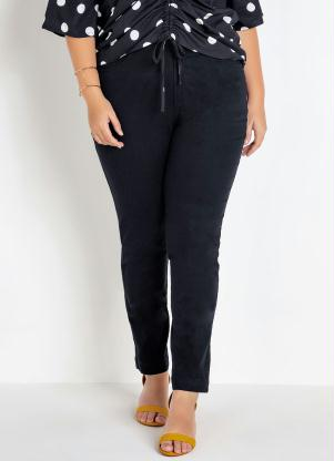 Calça Skinny Básica Plus Size (Preta) Cintura Alta