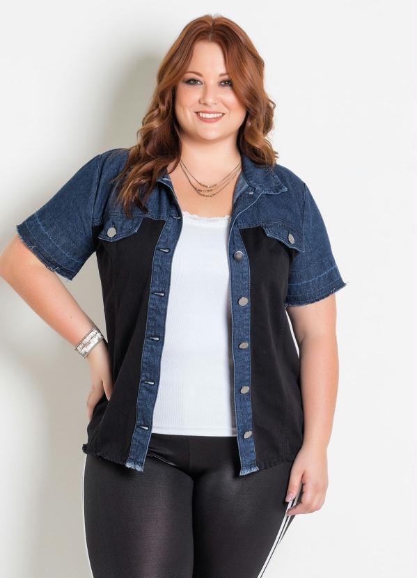 Camisa (Jeans Preta) com Botões Plus Size