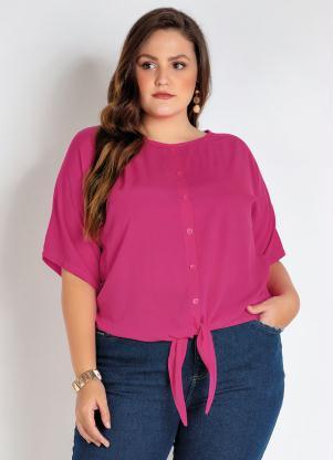 Camisa Plus Size (Pink) com Amarração e Botões