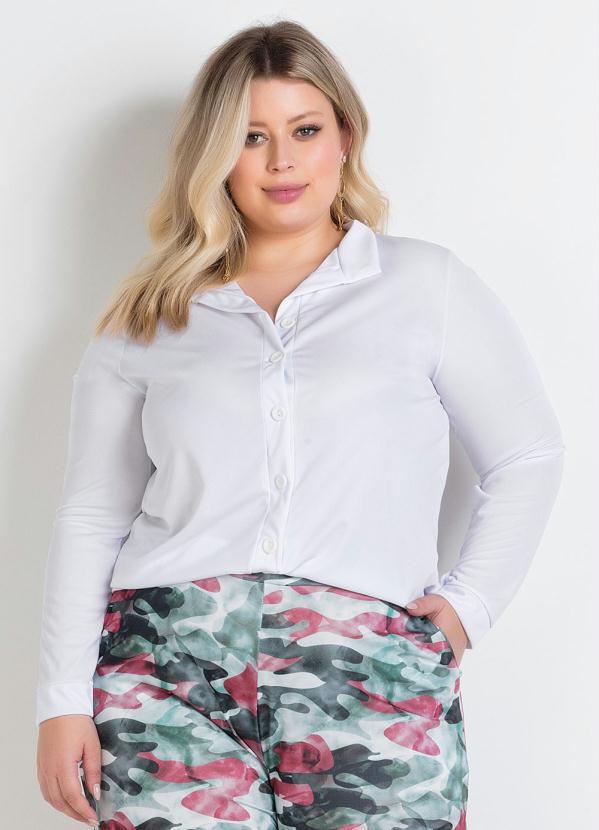 Camisa (Branca) Manga Longa e Botões Plus Size