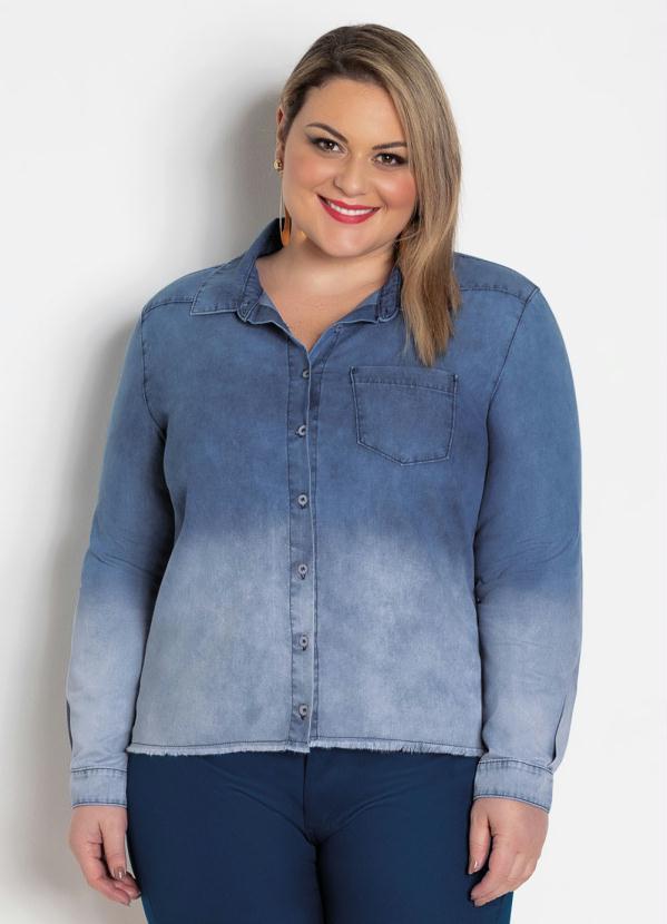 Camisa (Jeans Clara) Plus Size Efeito Tie Dye