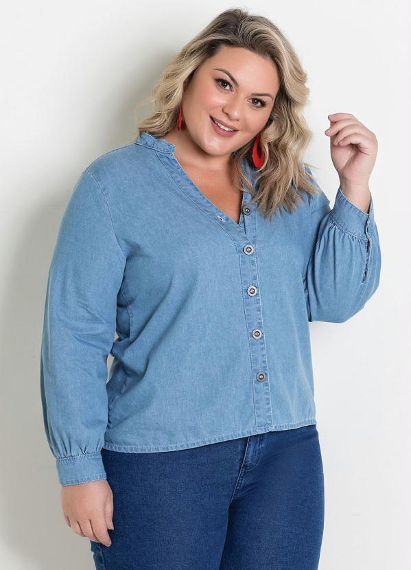 Camisa (Jeans) com Mangas Bufantes Plus Size