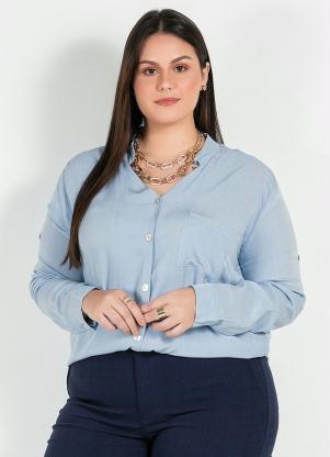 Camisa Plus Size (Azul) com Bolso