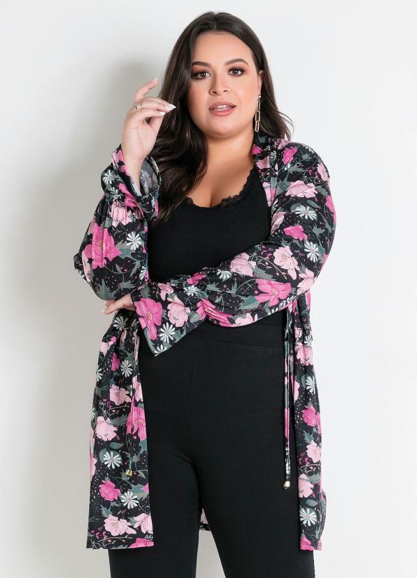 Cardigan (Floral) com Amarração Plus Size