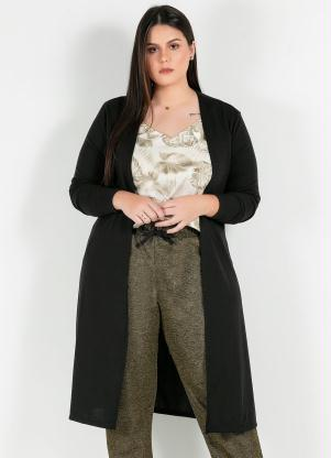 Cardigan Plus Size Longo (Preto) Fenda Lateral
