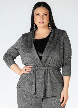 Cardigan Plus Size (Prata) com Amarração