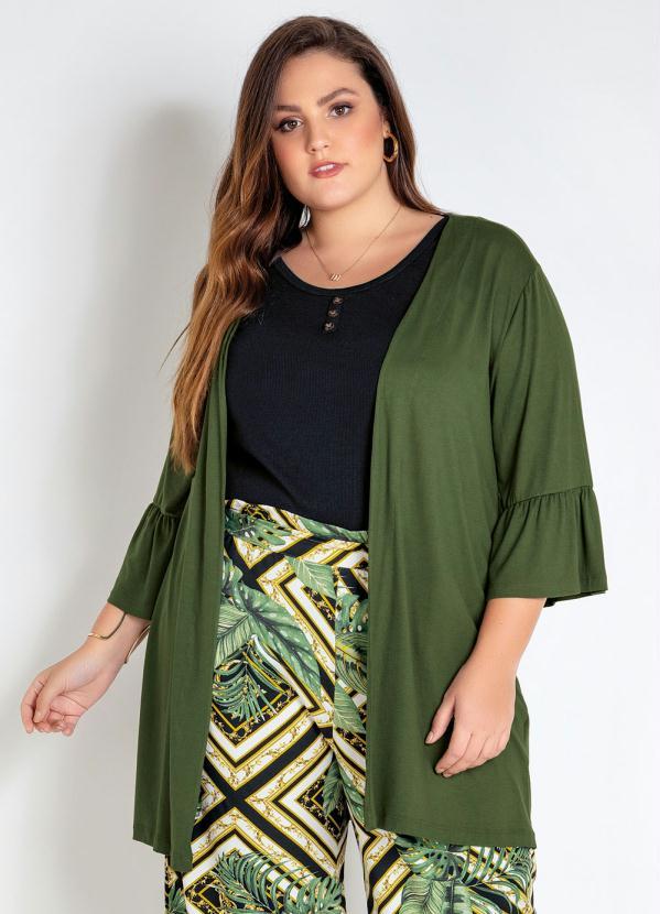 Kimono Plus Size (Verde) com Babado na Manga