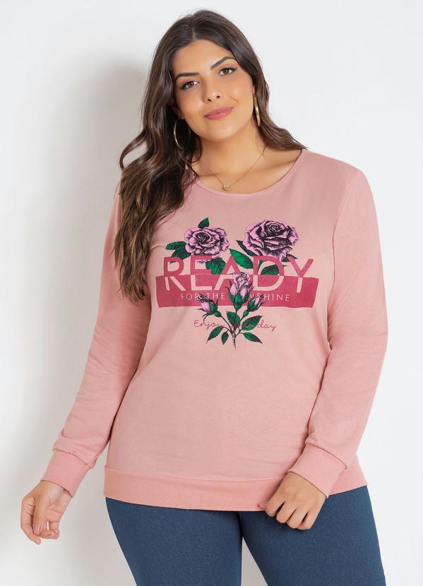 Casaco Moletinho (Rosa) Plus Size com Estampa