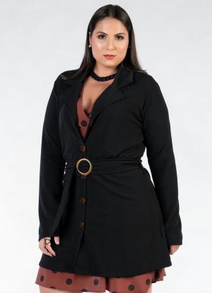 Casaco Plus Size Alongado (Preto) com Cinto