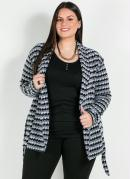 Casaco Plus Size Preto/Branco com Faixa