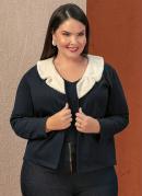Casaco Preto com Pelo Sintético Plus Size