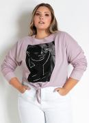 Casaco Rosa com Amarração na Frente Plus Size